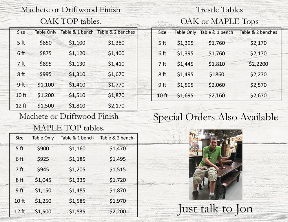 Green Oak Furniture Farm tables trestle table flyer